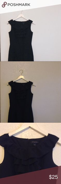Banana Republic Black Ruffle Dress Great condition. This dress features a ruffled neck that goes all the way around the back, a pleated waist detail, and is fully lined. This dress hits me about 2 inches above my knee and I'm 5'10. True to size. Questions and offers are welcome Banana Republic Dresses Midi