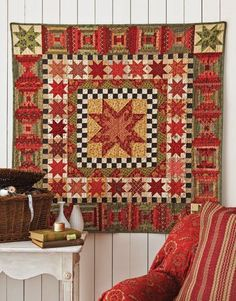 """""""The design is timeless, and the quilt is easy to make,"""" says Mary Etherington of Country Threads. """"The kit features 58 different fabrics, so the fabric does most of the work!"""" Read more: Make Our Anniversary Quilt - Country Living Sampler Quilts, Star Quilts, Mini Quilts, Scrappy Quilts, Country Quilts, Fall Quilts, Miniature Quilts, Traditional Quilts, Quilted Wall Hangings"""
