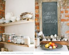 The shelves rock!  The white ironstone tureen that is old and discolored is tdf.