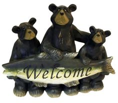 Black Bears With Fish Welcome StatueFor $29.99