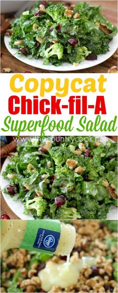 Copycat Chick-fil-A Superfood Salad recipe from The Country Cook. Full of kale, broccoli, dried cherries, nuts all tossed in a sweet and sour dressing! So easy but SO scrumptious!