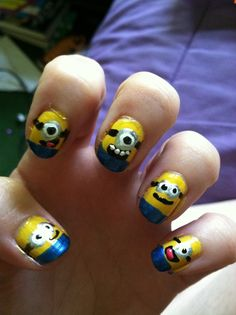 Minion nails! I'm really proud of how these came out. I have these migi nail art pens that are AMAZING!! They made it so easy to do this!
