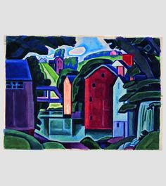 """Oscar Bluemner (1867-1938), """"Montville""""(from """"Movement of Space and Form, New Jersey"""") - (Selections from the Vera Bluemner Kouba Collection - Stetson University ~ DeLand, Florida, USA @ Vero Beach Museum of Art ~ Vero Beach, Florida, USA)"""