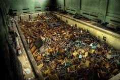 Abandoned swimming pool at the University of Rochester, NY. For whatever reason, 20 years ago, the school decided to dispose of old chairs in the pool, rather than a landfill. 20 years later, this is what the pool looks like.