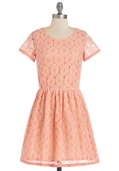 Live, Laugh, Lovely Dress - Pink, Lace, Casual, A-line, Short Sleeves, Better, Scoop, Short, Cotton, Woven, Lace, Pleats