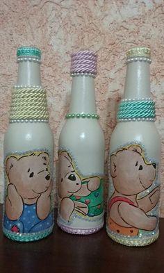 Kit com 3 garrafas decoradas Mais