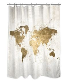 Another great find on #zulily! White Gold Mapamundi Shower Curtain #zulilyfinds