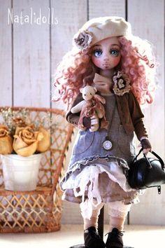 Инес - серый,девочка с мишкой,кукла в бохо-стиле,бохо,авторская ручная работа