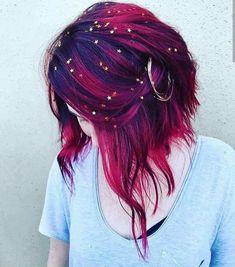 Hair Dye Colors, Cool Hair Color, Red Purple Hair Color, Crazy Hair Colour, Purple Ombre Hair Short, Rainbow Hair Colors, Trendy Hair Colors, Hair Goals Color, Dark Pink Hair
