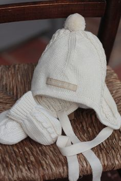 CableKnit  Hat  amp   Mitts made from 100%  cream  cotton · Cable Knit Hat Baby ... 218926146