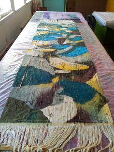 Pin Weaving, Loom Weaving, Weaving Textiles, Tapestry Weaving, Painted Warp, Technical Textiles, Fun Loom, Weaving Projects, Weaving Techniques
