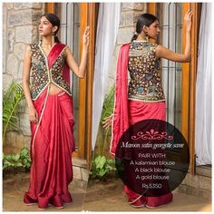 Maroon - the color between red & brown. Exquisite & versatile. Now in the form of a soft drapey drape! Find it on our READY TO SHOP section here: www.houseofblouse.com #houseofblousedotcom #saree #satin #georgette #maroon #love #versatile #beautiful #blouse #readytoshop