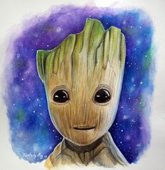 DESSIN Bébé groot aquarelle - Fairlady My Art Mix Media, Mixed Media Art, My Arts, Animals, Baby Groot, Color Pencil Picture, Watercolor Painting, Drawings, Quotation