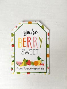 Tutti Frutti Birthday Party Favor Tag Tutti Fruitti Thank Fruit Birthday, Birthday Tags, Birthday Candy, Birthday Party Favors, 50th Birthday Party Decorations, 2nd Birthday Invitations, First Birthday Parties, Tutti Frutti, Tutti Fruity Party