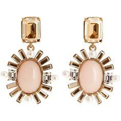 Oscar De La Renta Oval crystal-embellished earrings (48230 RSD) ❤ liked on Polyvore featuring jewelry, earrings, brinco, pewter jewelry, oscar de la renta, gold tone earrings, oversized earrings and pewter earrings