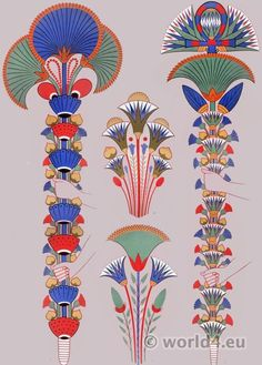Ancient Egypt ornaments and decoration. Painting in the tombs. Ancient Egyptian Costume, Ancient Egypt Art, Egyptian Symbols, Egyptian Art, Ancient Aliens, Ancient Artifacts, Ancient History, Egyptian Pharaohs, Ancient Greece