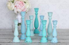 shabby sheek wedding design   Shabby Chic Candle Holders Distressed Blue Rustic Wedding Decor SET OF ...