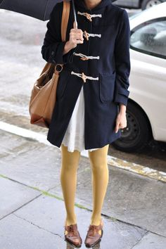 pale yellow tights, navy blue coat, jacket, fashion