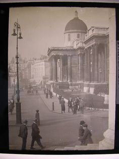 Memories-The National Gallery, London Antique ' Magic Lantern ' Glass slide photographed.over a light box. Victorian London, Vintage London, Old London, London City, Victorian Era, Victorian Buildings, London Pictures, London Photos, Old Pictures