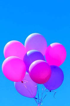 Shades of Bright Pink and Bright Purple Floating Balloon Bouquet