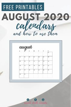 The month of August means lots of new activities! Keep track of them on these free printable calendars. #freeprintable #augustcalendar #printablecalendar Free Monthly Calendar, August Calendar, Blank Calendar, Free Printable Calendar, Free Printables, Organization Hacks, Organizing, Bullet Journal Art, New Hobbies