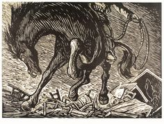 The Brut by Leopoldo Méndez, the best mexican engraver in XX Century. Linocut.