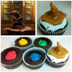 Harry Potter Sorting Hat Cupcakes - I love this idea for Harry Potter inspired party. Baby Harry Potter, Harry Potter Motto Party, Gateau Harry Potter, Harry Potter Fiesta, Harry Potter Thema, Harry Potter Sorting Hat, Harry Potter Baby Shower, Harry Potter Food, Harry Potter Wedding