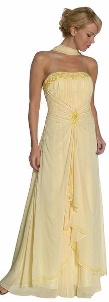 Elegant Light Yellow Beaded Wedding Dress Strapless Chiffon Long Gown $179.99
