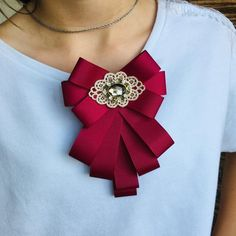 Women Bow Tie, Red Jewelry, Brooches Handmade, Girls Accessories, Marsala, Gifts For Wife, Valentine Gifts, Burgundy, Ribbon