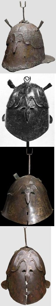 The Apulo-Corinthian Helmet, Type B and C.  From above: 1, 3 & 4. Provenance unknown (Hermann Historica auctions, Munich). 2. It is decorated with a lion and a dog on its left cheek and a warrior on a horse on its right cheek. Said to be from Taranto (May 1968, fig. 31). Type B(3,4), Type C (1,2). Bachelor Thesis By: Sander Kools