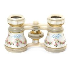 Antique White Guilloche Enamel and Mother Of Pearl Opera Glasses