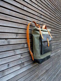 Gewachstem Canvas Rucksack / Rucksack mit Roll-up von treesizeverse