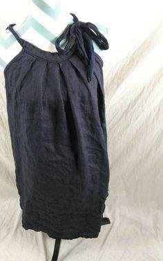 9f43972b45 Bellambra Size Medium Linen Shift Dress Womens Blue Tie Neck Beach Cover Up   Bellambra