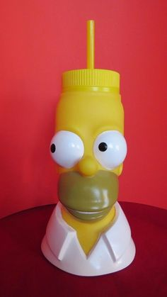 HOMER SIMPSON BEVERAGE CONTAINER & STRAW