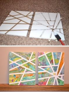 Easy art project for kids using a canvas and tape! A ton of DIY super easy kids crafts and activities for boys and girls! Quick, cheap and…