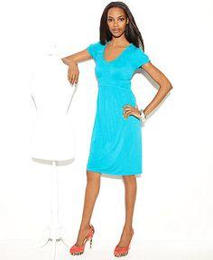 INC International Concepts Dress, Cap Sleeve Empire Waist Ruffle Peasant