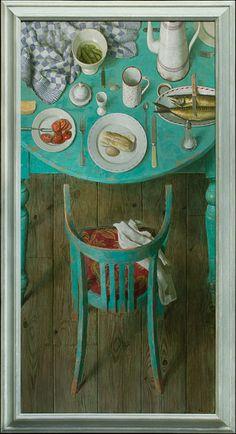 Kenne Grégoire - Lunch met makreel - Acryl op linnen - 80 x 160 cm - 2009