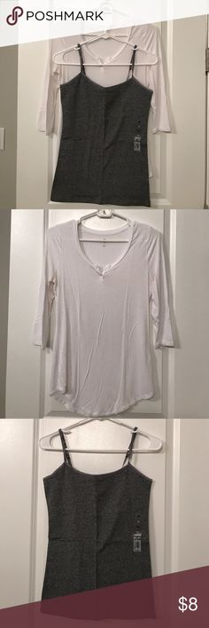 Perfectly Soft Perfectly You Shirt and Tank Top Super soft 3/4 sleeve white shirt with brand new grey tank top. You will love how comfortable these are!  Shirt only worn a few times.  Both Size M. Tops Tees - Long Sleeve