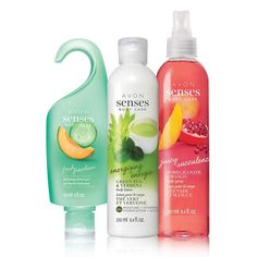 Mix and match with some of our favorite, calming scents. This collection has a little bit of fruity and a little bit of relaxing.A $24 value, this collection includes:•Avon Senses Green Tea & Verbena Body Lotion - 8.4fl. oz. $8 value• Avon Senses Pomegranate & Mango Body Spray - 8.4fl. oz. $10 value• Avon Senses Cucumber & Melon Hydrating Shower Gel - 5 fl. oz. $6 value