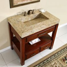 natural Cherry Finish with Kashmir Gold Granite, love the open shelf!
