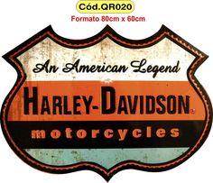 Quadros Harley Davidson Vintage Antigo Coca-cola Rustico - R$ 130,00
