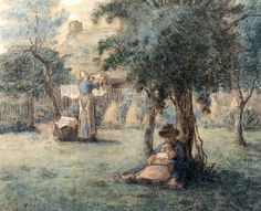 Woman Hanging Her Laundry by Jean-Francois Millet. Realism. genre painting. Private Collection