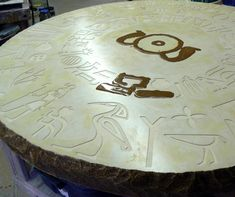 Mark Fisher with Hillside Castings in Ohio creates intricate integral color, hand-crafted concrete table design using concrete pigment and concrete overlay.