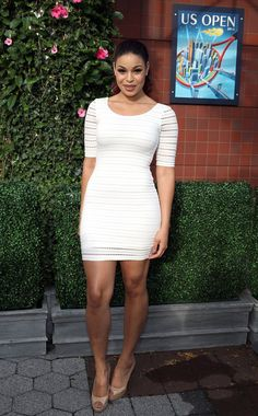 Pin for Later: Here's Why We Still Can't Get Over Eyelet Lace Jordin Sparks Jordin Sparks took the body-con route in this striking three-quarter-sleeved minidress.