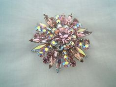 Signed Sherman Pink & AB Iridescent Rhinestone Brooch Pin Vintage