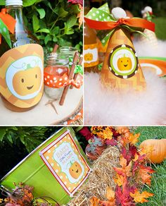 """Want to throw a Fall Birthday Party or Harvest Celebration for your favorite """"Little Pumpkin""""? Well, this adorable party by Ellen of Ellen Bessette Pumpkin Birthday Parties, Halloween Birthday, Boy Birthday Parties, Birthday Ideas, 2nd Birthday, Little Pumpkin Party, Pumpkin Patch Party, Fall 1st Birthdays, Fall Harvest Party"""