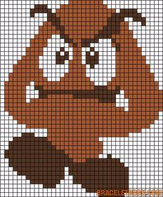 Goomba Mario perler bead pattern