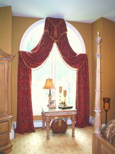 arched window drapes w/ small cornice at top & draped fabric looped over small hidden rods as tie backs Curtains For Arched Windows, Drapes And Blinds, Drapes Curtains, Arch Windows, Window Drapes, Valances, Arched Window Treatments, Window Coverings, Curtain Styles