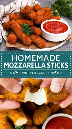 Homemade mozzarella sticks are easy to make and taste WAY better than what you'd get at a restaurant! # Food and Drink homemade Mozzarella Sticks Homemade Cheese Sticks, Homemade Mozzarella Sticks, Fried Mozzarella Balls Recipe, Cheese Sticks Recipe, Easy Appetizer Recipes, Best Appetizers, Easy Appetizers To Make, Easy Party Snacks, Easy To Make Snacks