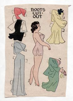 "Vintage BOOTS ""BABE"" paper dolls 1930s uncut panel Gown/Apron newspaper funnies 